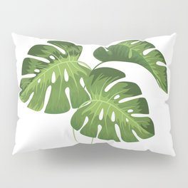 Three Monstera Leaves on White Pillow Sham