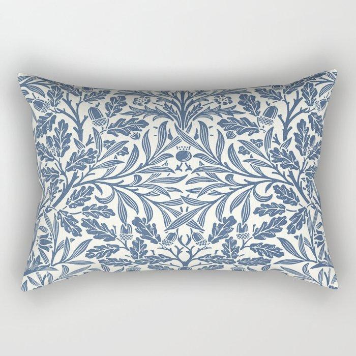 William Morris Navy Blue Botanical Pattern 2 Rectangular Pillow