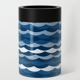 Classic Blue Wave Pattern Can Cooler