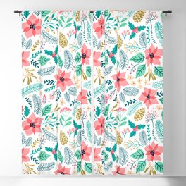 Seamless Floral pattern with winter plants Blackout Curtain