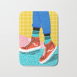 Toe Drag - memphis throwback fashion shoes retro pattern grid pink bright neon hipster Bath Mat