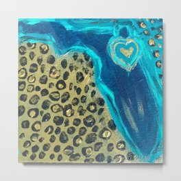 Florida Teal Love Metal Print