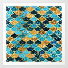Glitter-Bling Blues, Aquas, & Gold Mermaid Scales Art Print