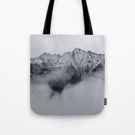 Grayscale Mountain Range Clock, Throw Pillow, Journal Tote Bag
