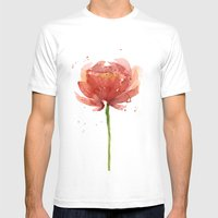 Red Flower Watercolor Floral Painting White MEDIUM Mens Fitted Tee