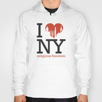 religious Hoodies featuring Luv New York Religious Freedom by The Mindful