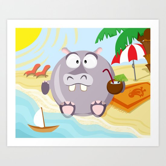 Hippo on the beach July month series Art Print