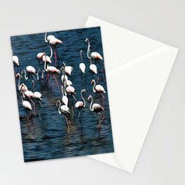 Flamingo Birds In Pink and White On Blue Stationery Cards