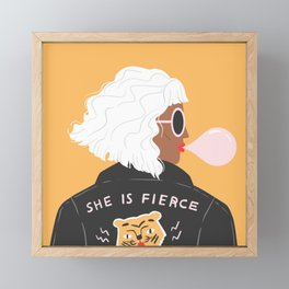 She Is Fierce Framed Mini Art Print