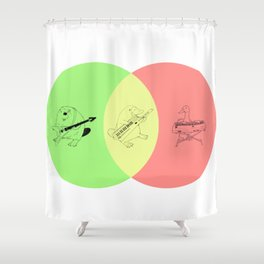 Keytar Platypus Venn Diagram - GYR Shower Curtain