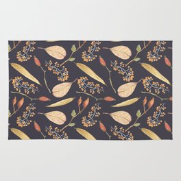 Rustic gray brown Autumn colors floral Rug