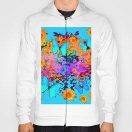 Blue Butterflies Sunflower Dreamscape Art Hoody