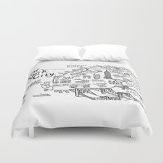 New York City Map Duvet Cover