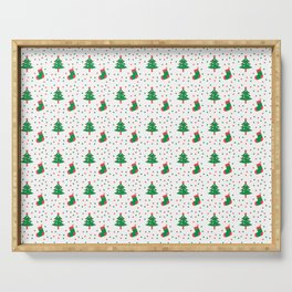 Christmas Tree And Stockings Pattern On White Serving Tray