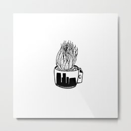 Cactus in a Cup Pen Drawing Metal Print