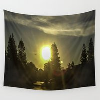 airplanes Wall Tapestries featuring Airplanes & Sunshine  by Liese May Photography