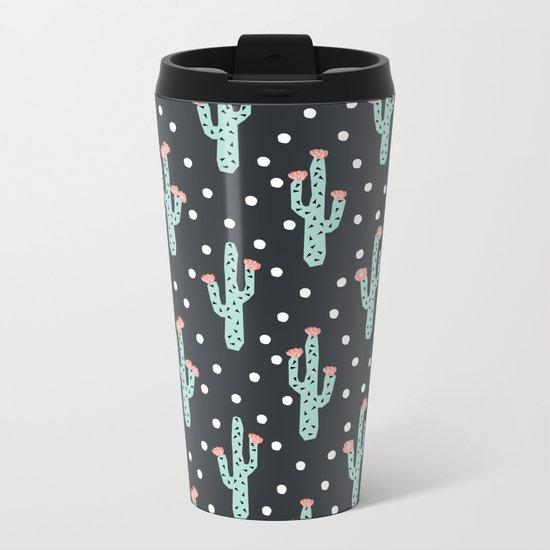 Cactus flowers southwest desert pattern minimal modern geometric children kids dorm college Metal Travel Mug