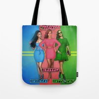 nicki Tote Bags featuring The PowerPuff Girls by Tyler Simien