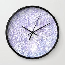 Pastel Purple Hiding Fox Drawing Wall Clock