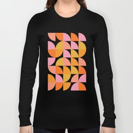 Mid Century Mod Geometry in Pink and Orange Long Sleeve T-shirt