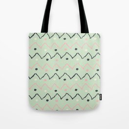 Hand Made Pattern Green & Black Tote Bag