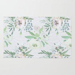 Blush pink white green watercolor modern floral berries pattern Rug
