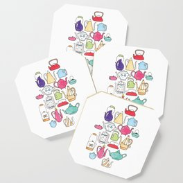 cute teapot collection on white Coaster