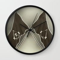 assassins creed Wall Clocks featuring Assassins Creed Flags by TiffaArts