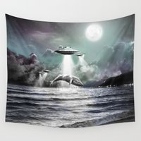 ufo Wall Tapestries featuring Whaling UFO by Bakus