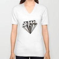 diamond V-neck T-shirts featuring Diamond by Galitt