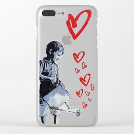 Urban Street Art: Banksy-Style Graffiti Stencil Clear iPhone Case