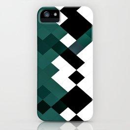Emerald Green White Black Geometrical Pattern iPhone Case