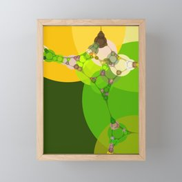veronica - bright abstract of lime grass green and warm gold yellow Framed Mini Art Print