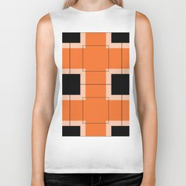 White Hairline Squares in Orange Biker Tank