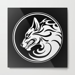 White and Black Growling Wolf Disc Metal Print
