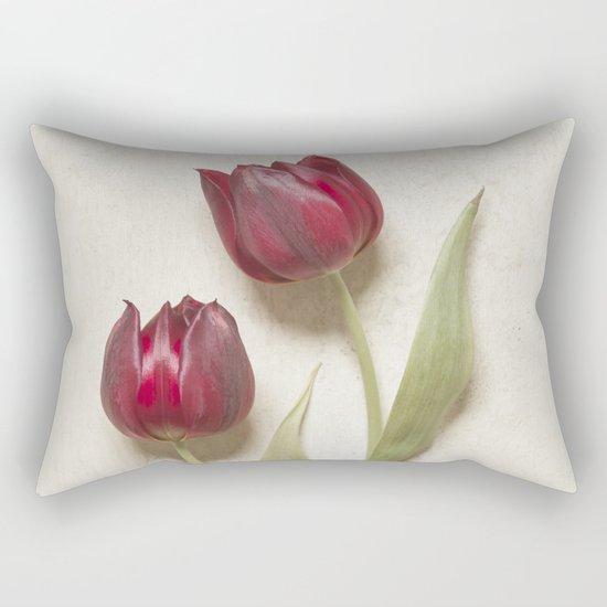 Two Red Tulips II Rectangular Pillow