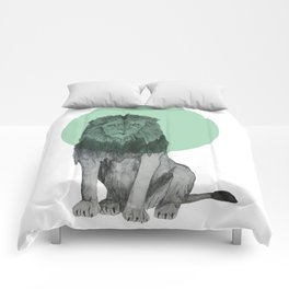 sitting lion Comforters