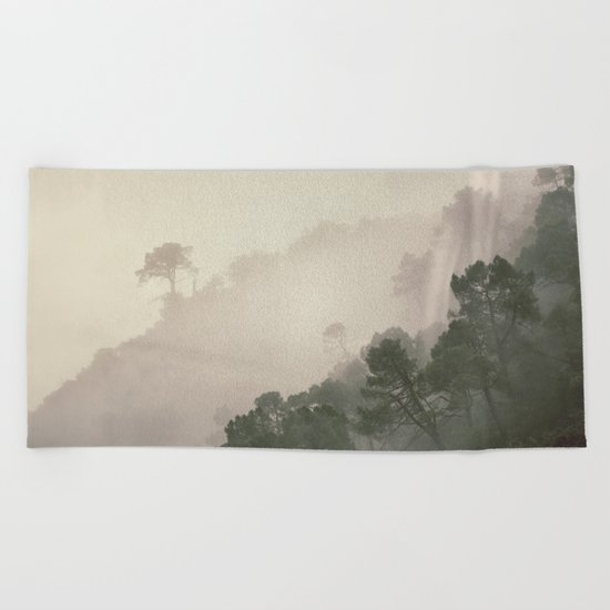 """Mountain light II"". Foggy forest. Beach Towel"