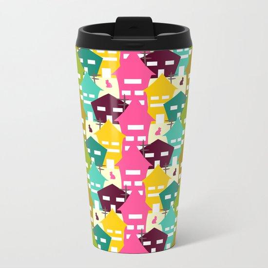 Colorful houses and cats Metal Travel Mug