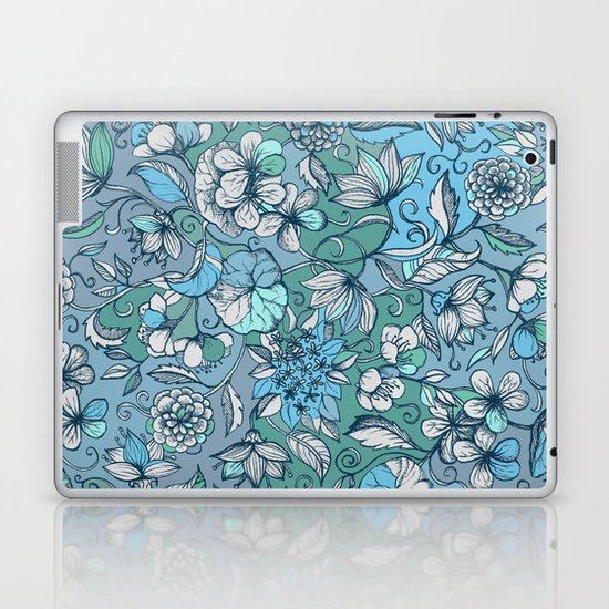 Hand drawn Floral in Blue, Grey & Mint Green Laptop & iPad Skin