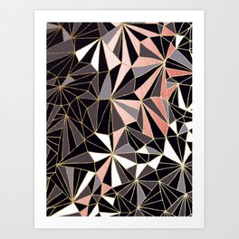 Stylish Art Deco Geometric Pattern - Black, Coral, Gold #abstract #pattern Art Print