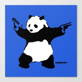 Banksy Panda with Guns Canvas Print
