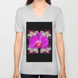 BLACK PURPLE BUTTERFLY ORCHID WHITE MUMS Flowers Unisex V-Neck