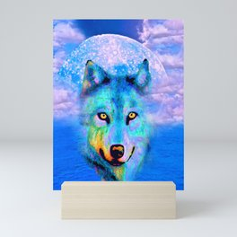Wolf Moon and the Deep Blue Sea Mini Art Print