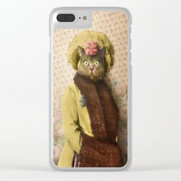 Lady Vanderkat with Roses Clear iPhone Case
