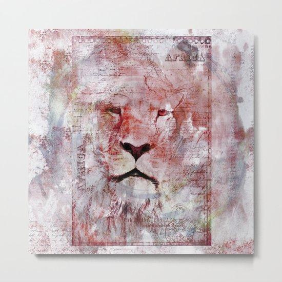 Watercolor Lion Vintage Africa Illustration Metal Print