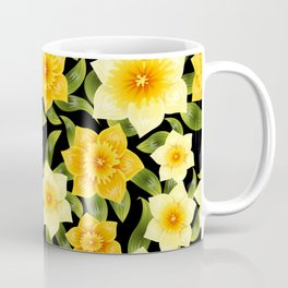 Seamless background with yellow daffodil narcissus. Spring flower with stem and leaves. Coffee Mug