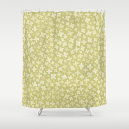 White Flowers on Pale Green Shower Curtain