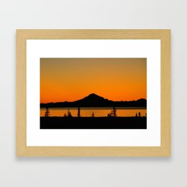 Sunset Silhouette, Mt. Redoubt - Alaska Framed Art Print