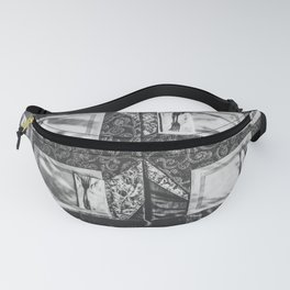 dining table with classic tablecloth in black and white Fanny Pack